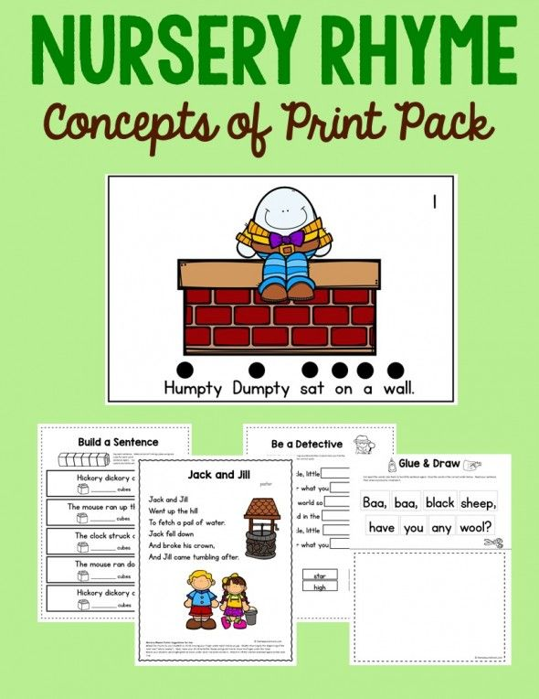Teach concepts of print with nursery rhymes!
