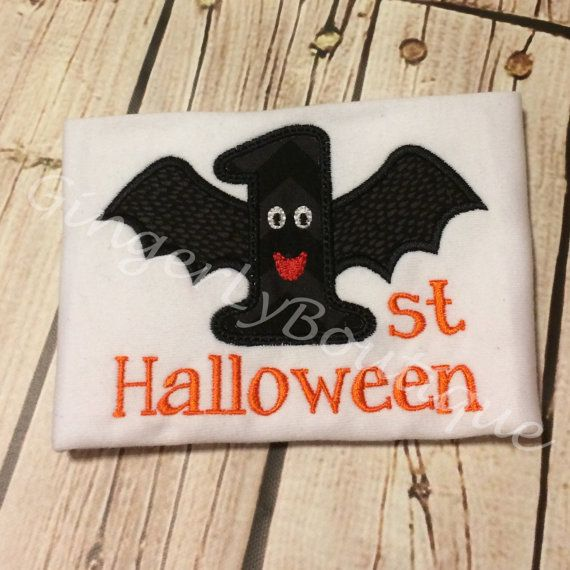First Halloween Bat Shirt  baby's First by GingerLyBoutique