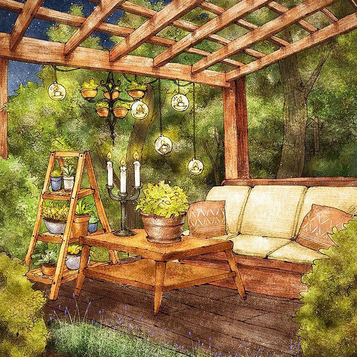 집과 정원 사이 비밀처럼 숨겨진 휴식공간입니다. 밤에 특히 낭만적인 분위기에요:) #illust #illustration #interior #garden #rest #seating #sofa #plant #flowerpot #night #romantic #sketch #drawing #aeppol #일러스트레이션 #일러스트 #드로잉 #정원 #인테리어 #소파 #화분 #사다리선반 #로맨틱 #휴식 #휴식공간 #애뽈