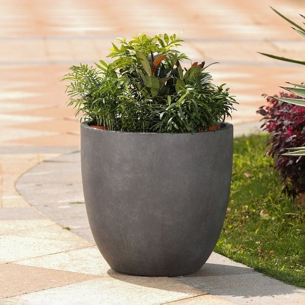 Grey Round Stone Finish Planter Planters Large Planters