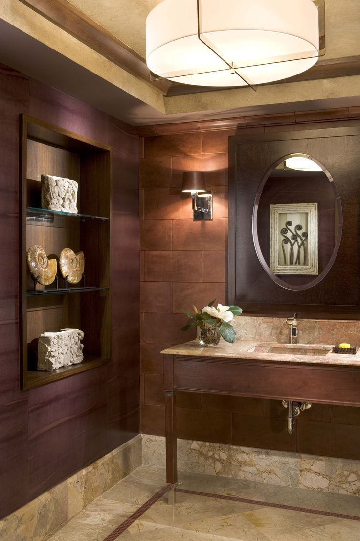 A Formal Powder Room In A South Beach Penthouse. Asian BathroomBathroom  IdeasBrown ...