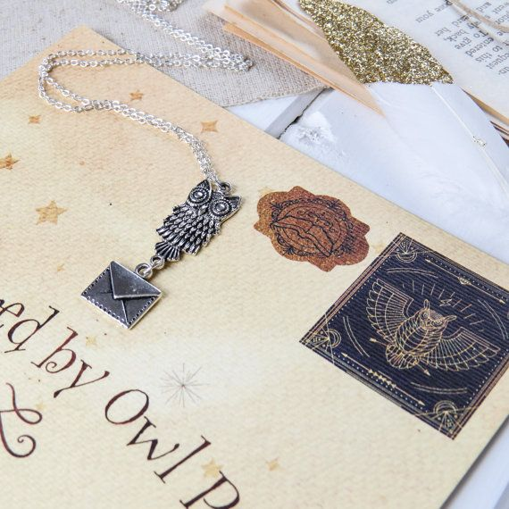 Owl Post Necklace Silver Owl and Envelope by LiteraryEmporium
