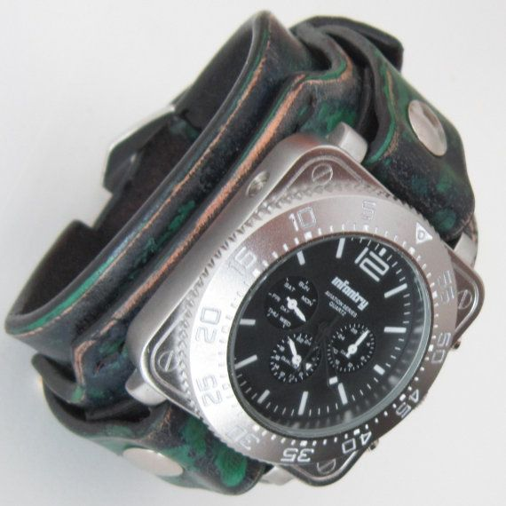 Mens Leather Watch Unique Men Military Watch by loversbracelets