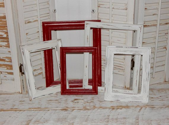 Distressed Picture Frames Red & White Frames by HensNestTreasures