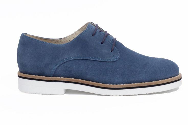 miMaO Blucher Insta Denim – zapato mujer plano cómodo azul piel ante - Comfort women's flat derby oxford shoes blue jeans suede leather