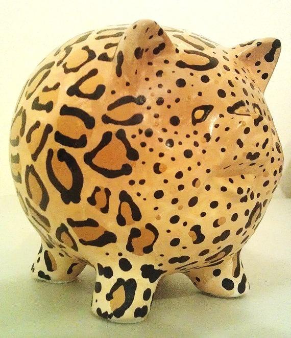 Ceramic Leopard Painted Piggy Bank  Medium by sharonshobbies, $20.00