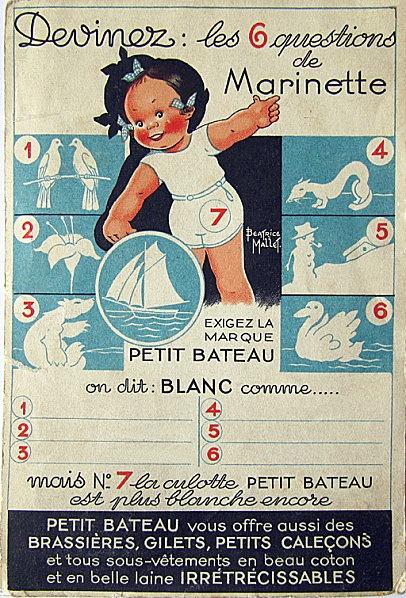 ¤ publicité Petit Bateau  - 'Les six questions de Marinette. On dit blanc comme...' Béatrice Mallet