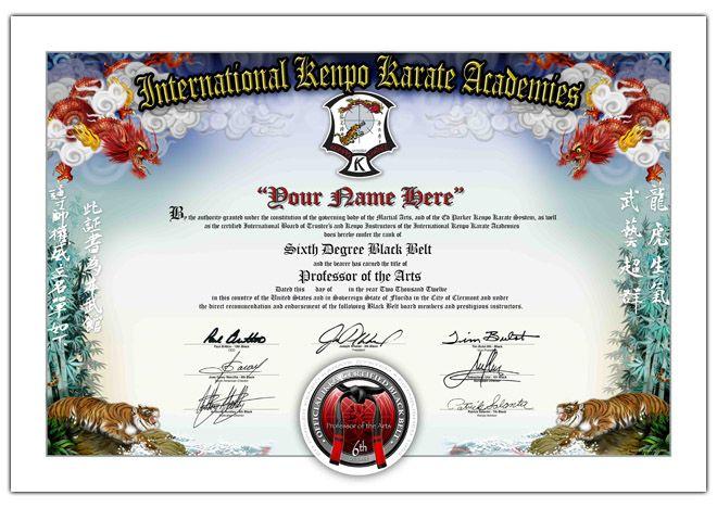 6th Black Belt Sample Karate Karate Academy Kenpo Karate