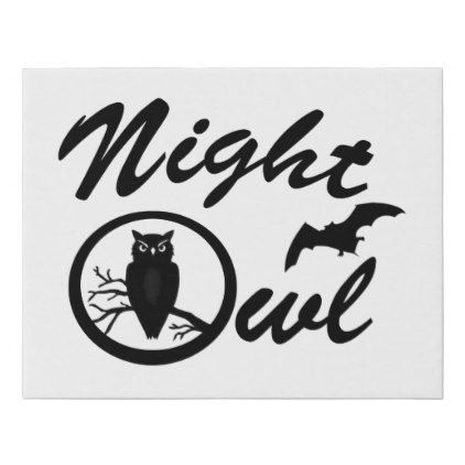Cute Vintage night owl bedroom decor Faux Canvas Print - black and white gifts unique special b&w style