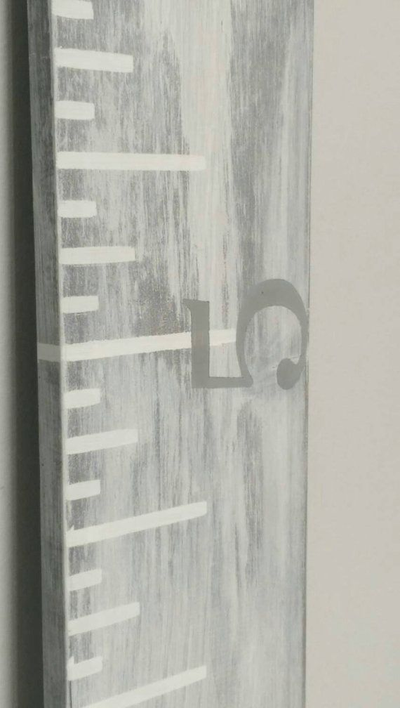 Whitewashed gray growth chart ruler with white measurements and light gray horizontal numbers- Growth chart- Oversized Ruler- Growth Board