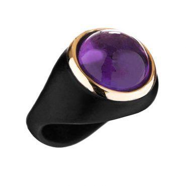 Δαχτυλίδι Huffy από ασήμι με μαύρο πλατίνωμα και γυαλιστερό ροζ χρυσό Κ9 τμήμα γύρω από έναν αμέθυστο | Δαχτυλίδια HUFFY ΤΣΑΛΔΑΡΗΣ στο Χαλάνδρι #δαχτυλιδι #huffy #μαυρο #αμεθυστος