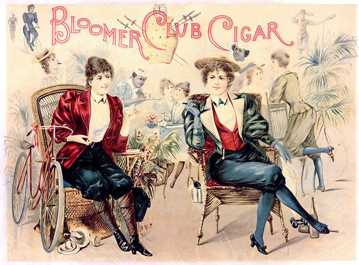We love this 1890s cigar box lid, designed to titillate the male mind, imagining women, who have recently begun wearing bloomers, having their own exclusive clubs where they do the things men do in their clubs!