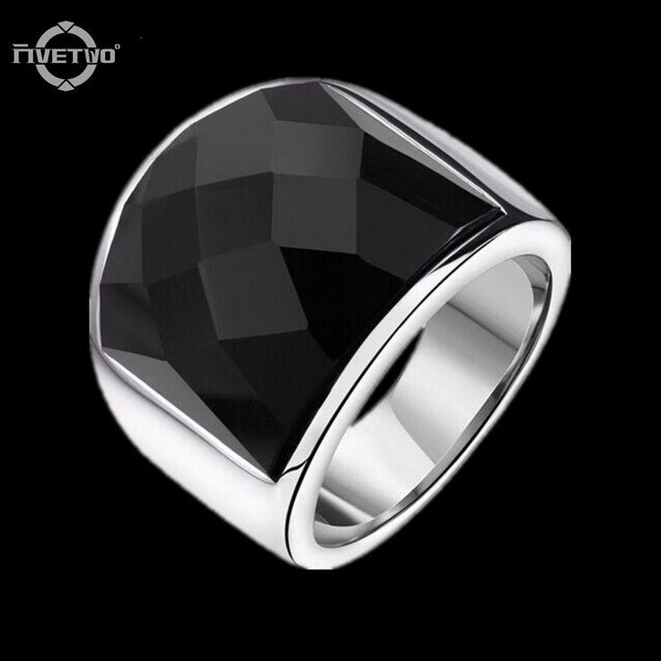 IR40 FIVETWOO nueva Moda Gótica Punk Negro Onyx anillo de joyería anillo de Acero Inoxidable 316L Anillos Unisex