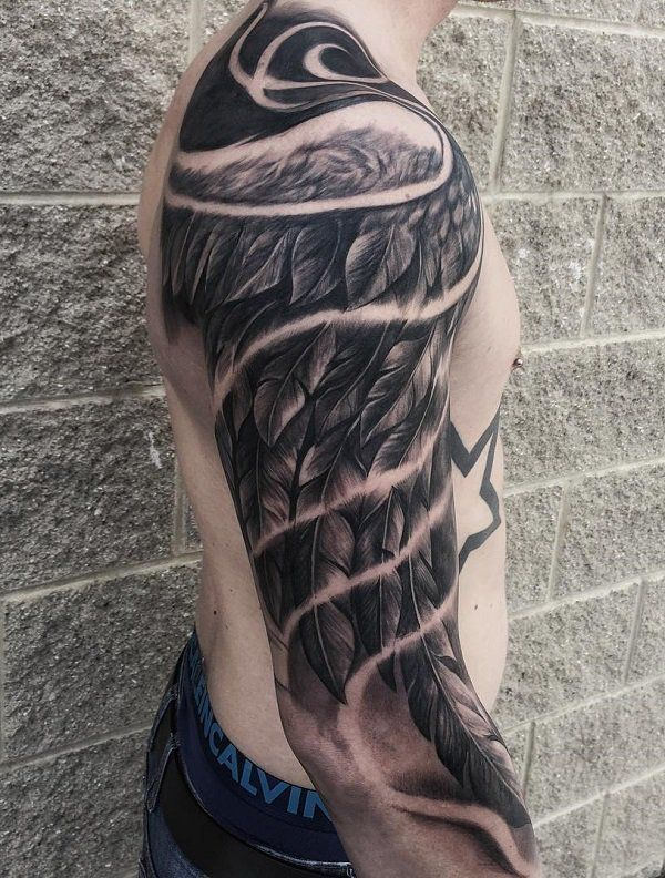 Wing Sleeve Tattoo For Man 35 Breathtaking Wings Tattoo Designs 3 3 Tattoosformen Wing Tattoo Men Wings Tattoo Tattoos For Guys