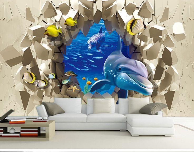 Бесплатная Доставка 3D подводные пейзажи обои КТВ тема отель гостиной Ocean park фон подводная лодка дельфин росписи обоев