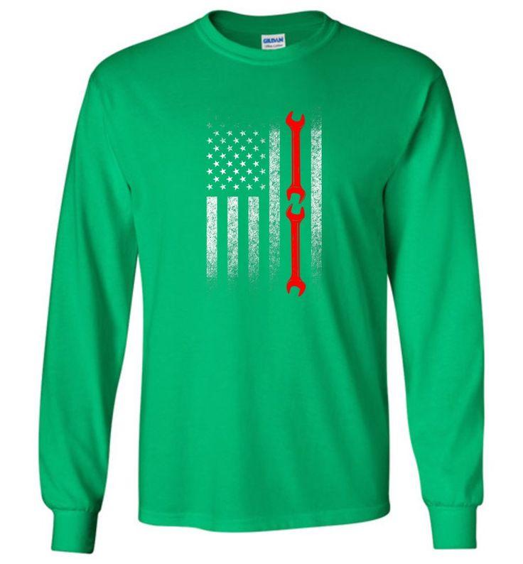 American Mechanic Flag Shirt - Long Sleeve T-Shirt