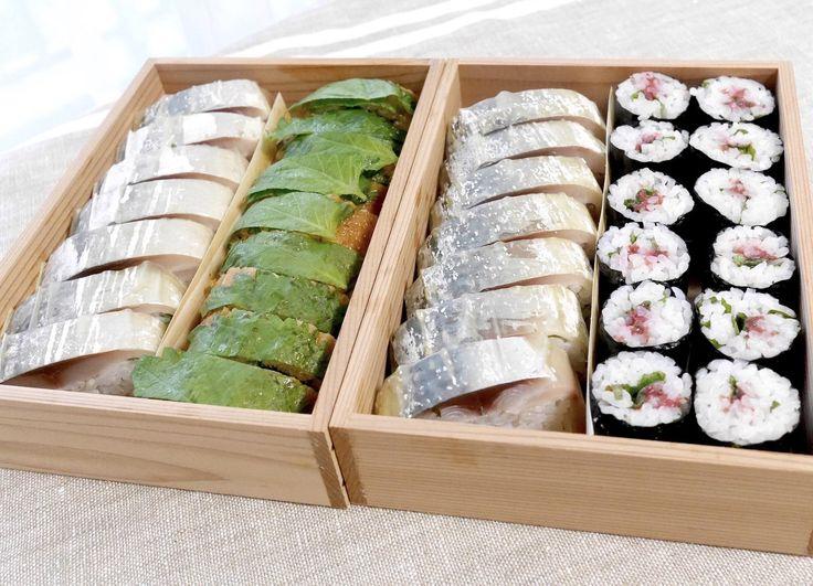 鰻棒寿司と鯖寿司盛り合わせ、鯖寿司と梅紫蘇小巻盛合せ。ガリ別添