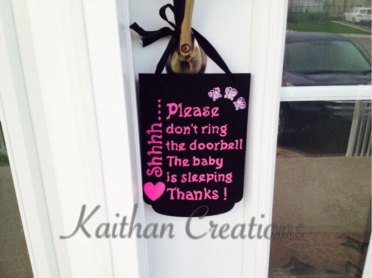 Do not ring the door bell plaque by Kaithan Creations.  Baby is sleeping, this plaque is the perfect accessory to your front door. Can be customized to your colors. Visit my Facebook page for more options.   www.facebook.com/kaithancreations