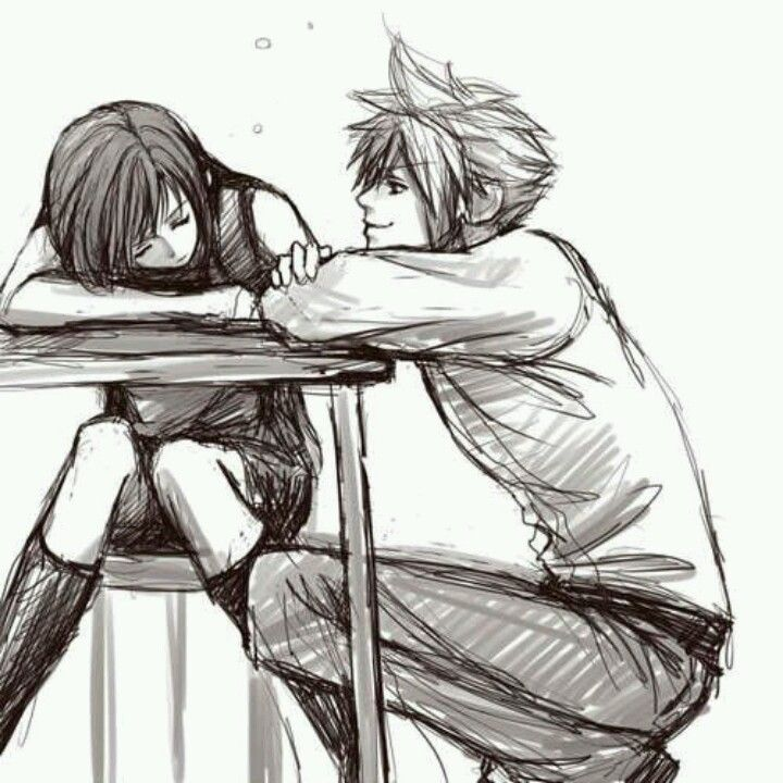 Caring Couple | Art Ideas | Pinterest | Anime Cute Love And Drawings