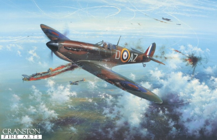"""August Victory"" by Simon Atack.  Mr. Atack has recreated an action flown by Pilot Officer Bob Doe during a fierce battle over the south coast, near the Isle of Wight on 18th August, 1940. Flying a Mk I Spitfire of No 234 Squadron, Boe Doe is seen bringing down an Me109 High over Southampton, one of 14 Victories he achieved during the Battle of Britain."