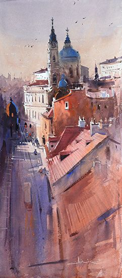 Prague by Eugen Chisnicean Watercolor ~ 75cm x 32cm