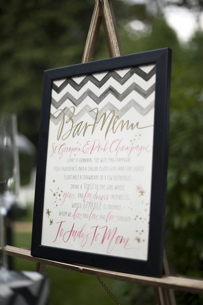 Menu dans un cadre pour le mariage civil Photography By / http://justinmarantz.com/