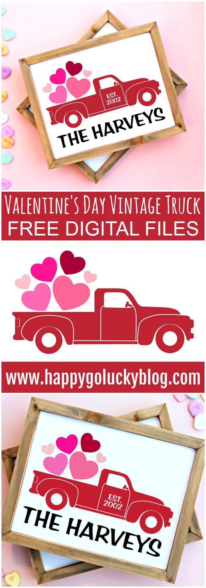 Valentine's Day Vintage Truck Sign {FREE SVG Cut File}