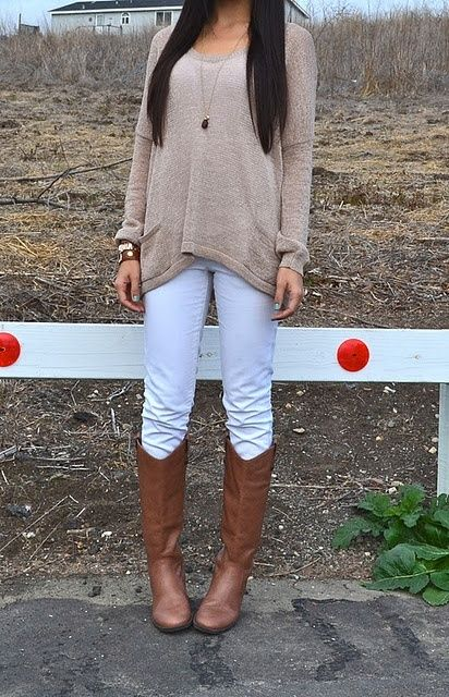 White jeans with boots