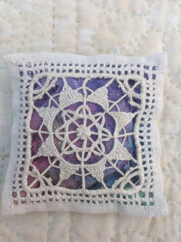 Lavender sachet in Ruskin Lace, a drawn thread technique ~ Uploaded by Debbie Irving