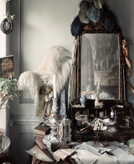 Ostrich feathers and lace...