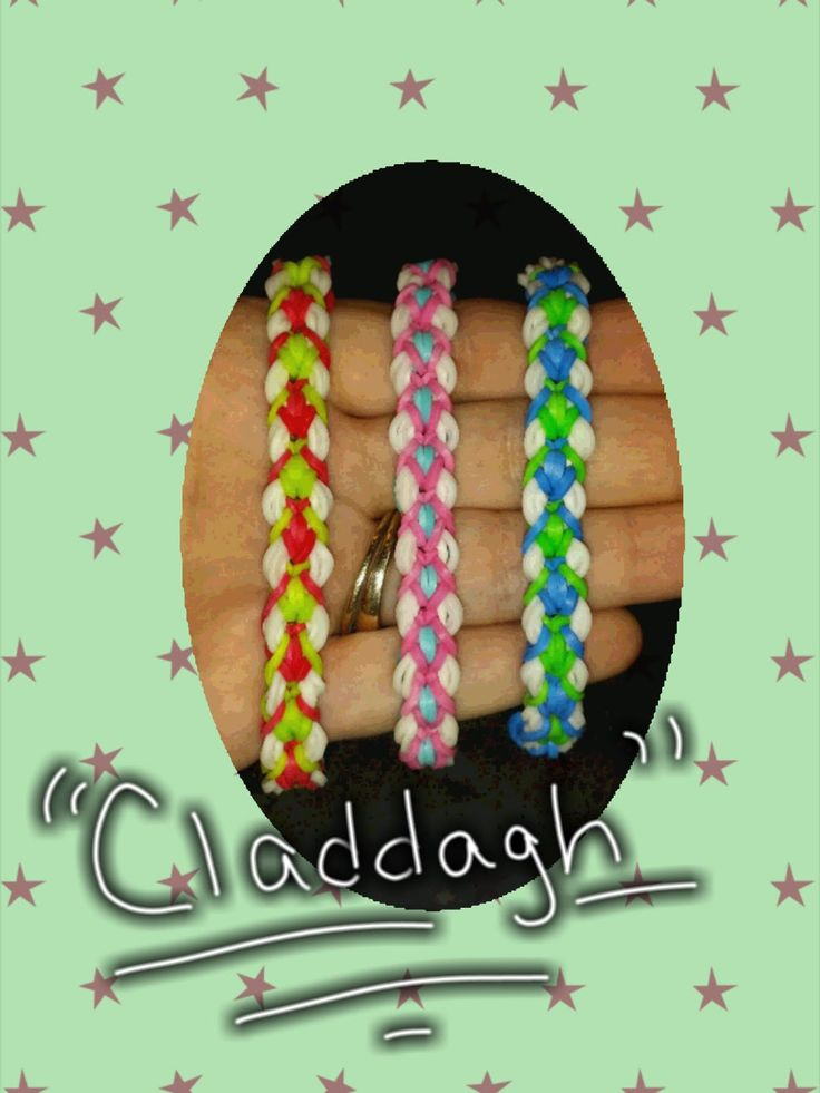 """New Reversible """" Claddagh"""" Rainbow Loom Bracelet/How-To Video Tutorial.  Can be made on the Rainbow Loom or the Monster Tail.  Only need two pins."""