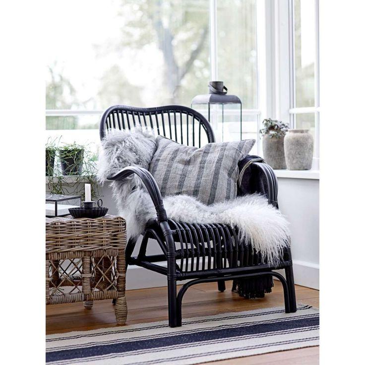 Rattan-Sessel schwarz, von Ib Laursen
