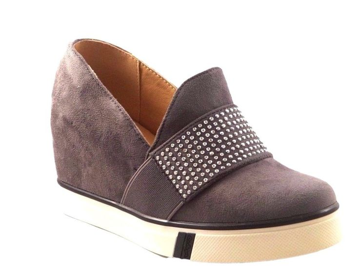 New Women's Shoes Wedges High Sneakers Trainers Slip On Faux Suede Grey