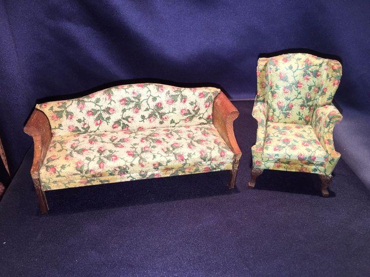 Lynnfield Dollhouse Miniature Wing Chair + Sofa Rosebud Upholstery As Found 1920 | eBay
