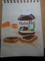pot de nutella♥ au feutre bic enfant + posca blanc et un peu d'eau pour la table