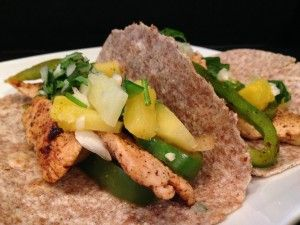 This light and tasty chicken fajita recipe with a healthy pineapple salsa is great dish to add to your rotation. The healthy Mexican recipe only is high in protein and high in fiber.     Chicken Fajitas