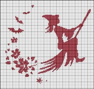 shadow craft of a witch flying her broom and leaving a bunch of leaves in her wake