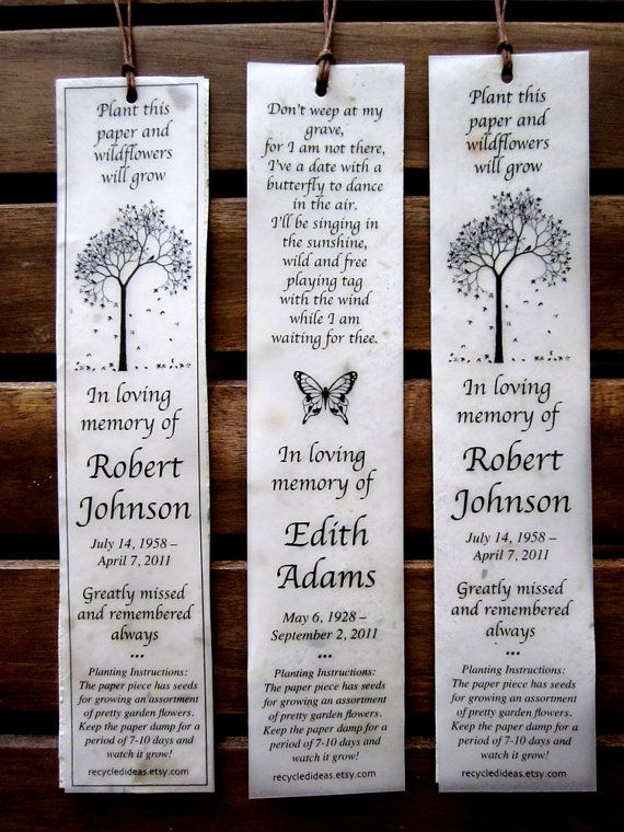 35 Plantable Seed Paper Bookmarks  Memorial Funeral