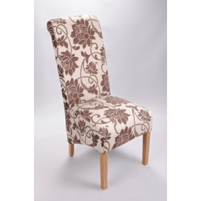 Mia Floral Fabric Dining Chair Brown  www.easyfurn.co.uk