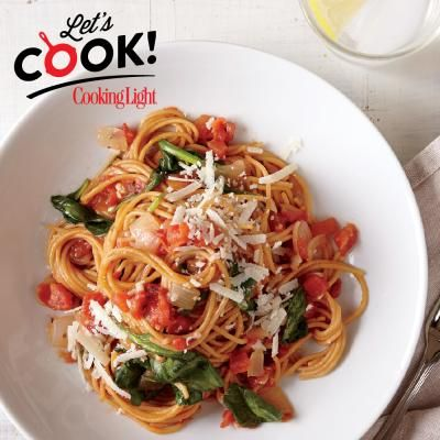 One-Pot Pasta with Spinach and Tomatoes | CookingLight.com