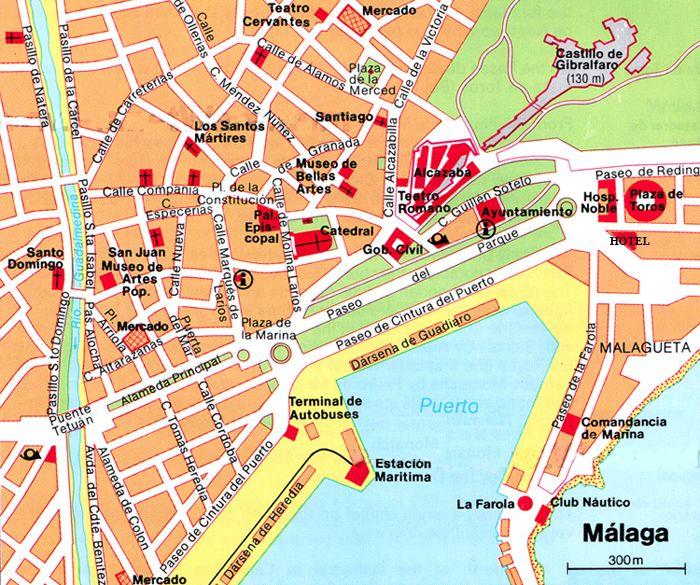 Malaga Kaart Malaga Malaga Spanje Kaarten