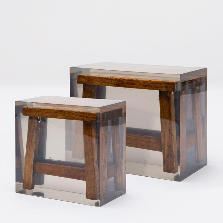 Petite Japanese stool frozen in opaque acrylic resin. Available in small or large. Finishes: Teak/Acrylic Resin