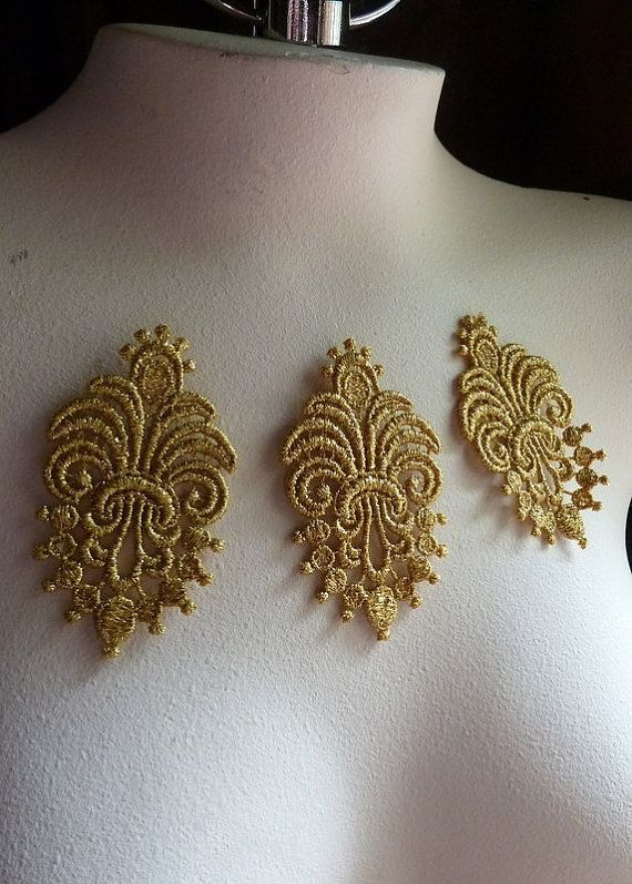 3 Lace Appliques in Metallic Gold for Cakes, Bridal, Jewelry, or Costume Design, Crafts CA 737