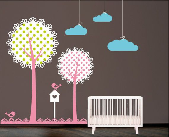 Trees with birds Wall Decal. Wall Sticker. Wall decal. Nursery decal
