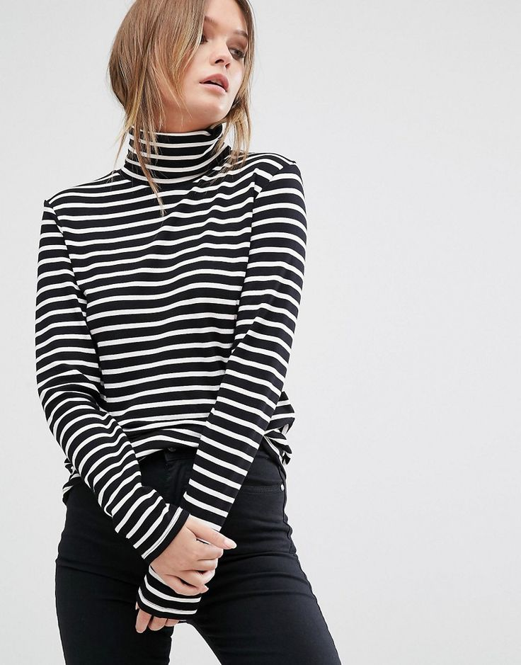 Lee Roll Neck Stripe Top