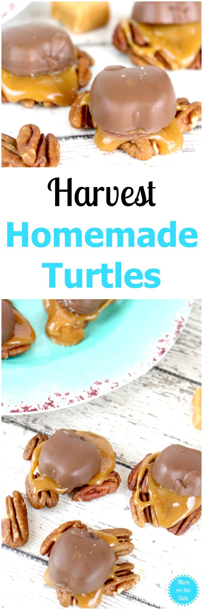 A delicious fall dessert, these Harvest Homemade Turtles are easy and full of fall flavor! #fall #autumn #dessesrts #falldesserts #chocolate
