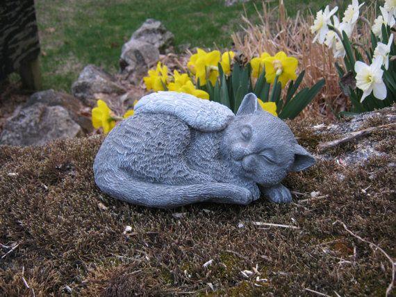 Cat Angel Statue Pet Memorial Cat Memorial By WestWindHomeGarden