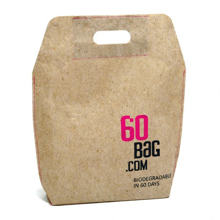 The 60 Bag biodegrades in 60 days. The bag is made of flax-viscose non-woven fabric and was developed and manufactured in Poland. The flax-Viscose fabric is produced with flax fiber industrial waste, which means it doesn't exploit any natural resources and requires minimal energy during its production.