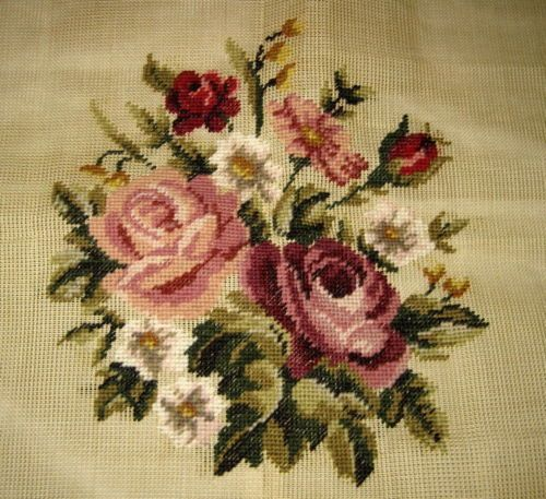 Four Wives PREWORKED Needlepoint Canvas *PINK RED ROSES* Pillow/Seat Cover