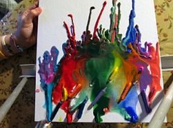 Melted Crayon Art, just glue the crayons all over the page and melt in different directions. So cool!